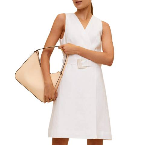 Mango Off White Belted Linen Mini Dress