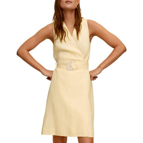 Mango Pastel Yellow Belted Linen Mini Dress