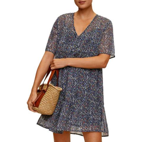 Mango Dark Navy Foral V Neck Dress