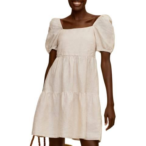 Mango Ecru Linen Flared Dress