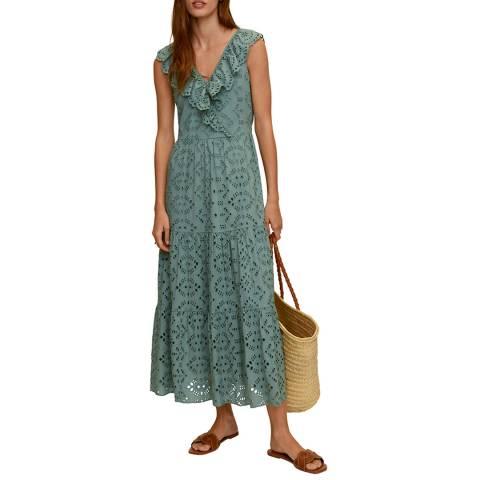 Mango Green V neck Ruffle Cotton Maxi Dress
