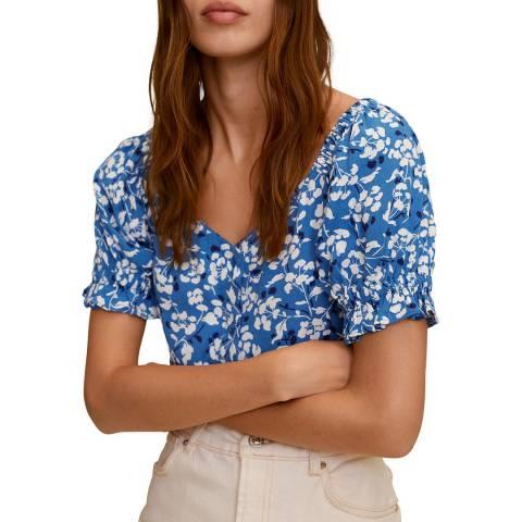 Mango Blue Floral Print Cotton Blend Blouse