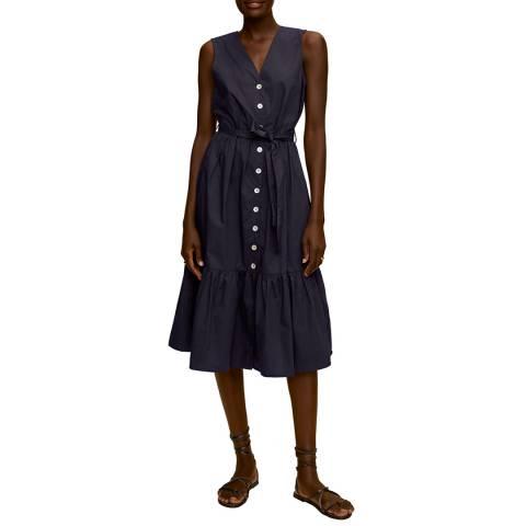 Mango Dark Navy Button Through Cotton Midi Dress