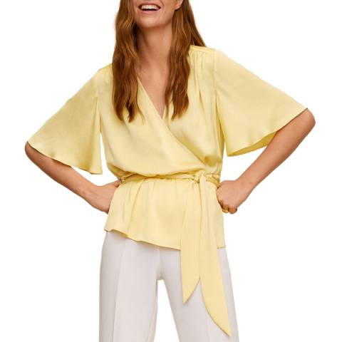 Mango Yellow Tie Waisted Pleat Blouse