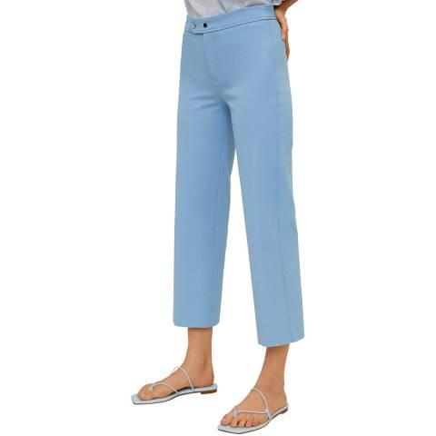 Mango Sky Blue Cropped Cotton Blend Trouser