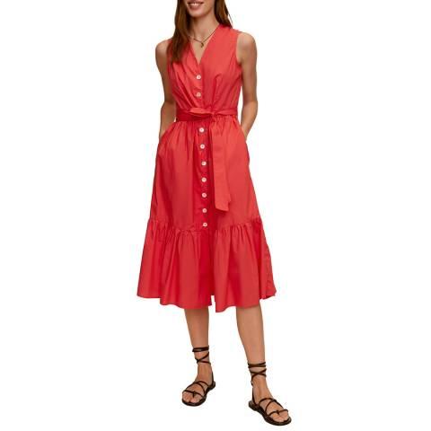 Mango Red Button Through Cotton Midi Dress