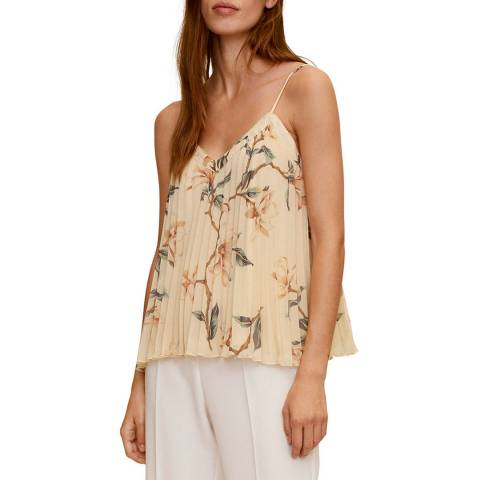 Mango Off White Pleated Floral Top