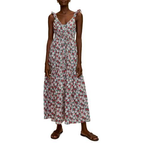 Mango Multi Floral Low Back Cotton Maxi Dress
