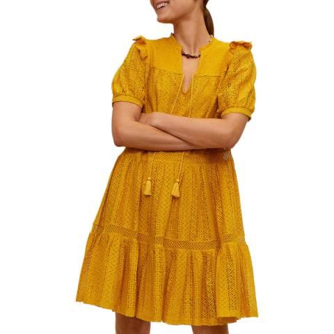 Mango Mustard Cotton Blend Mini Dress
