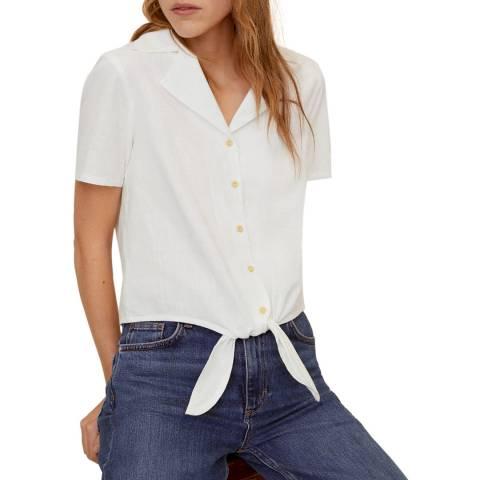 Mango White Tie Detail Cotton Shirt