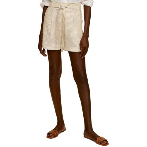 Mango Beige Stripe Linen Tailored Short