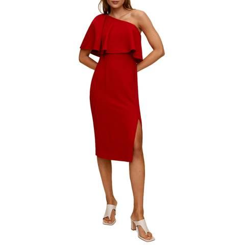 Mango Red Asymmetric Sleeve Dress