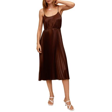 Mango Brown Pleated Midi Dress
