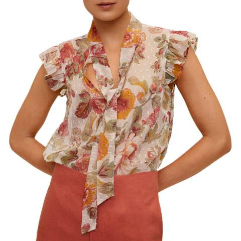Mango Off White Floral Print Tie Neck Blouse