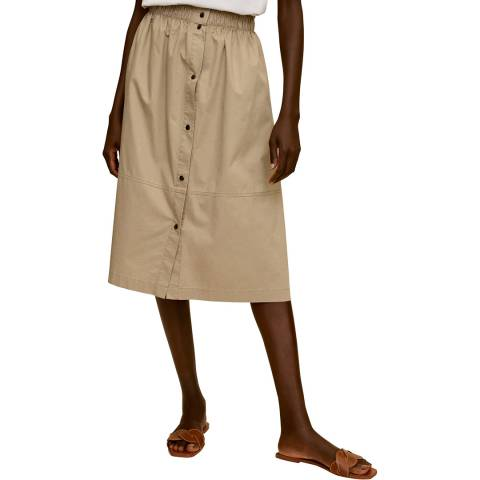 Mango Beige Button Through Cotton Skirt