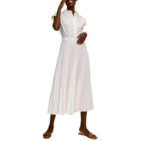 Mango Off White Pleated Cotton Blend Dress