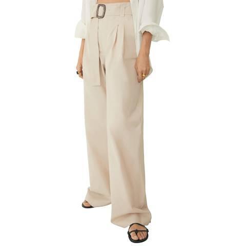 Mango Light Pastel High Waist Belted Cotton Trouser