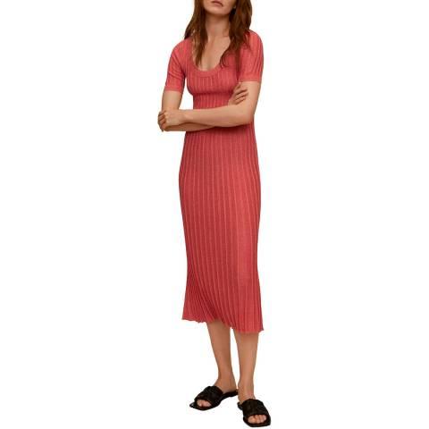 Mango Coral Stretch Short Sleeve Midi Dress