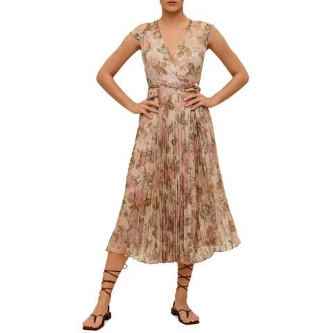 Mango Multi Floral Flared Midi Dress