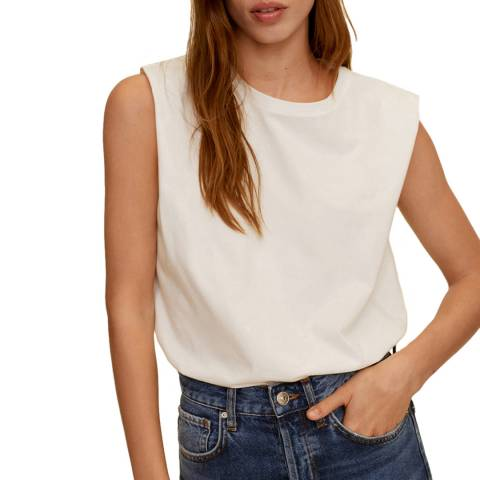 Mango White Sleeveless Cotton Tshirt