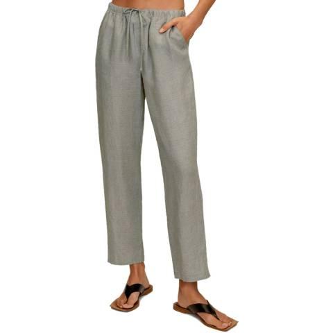 Mango Green Linen Straight Leg Trouser