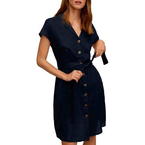 Mango Dark Navy Tie Waist Linen Dress