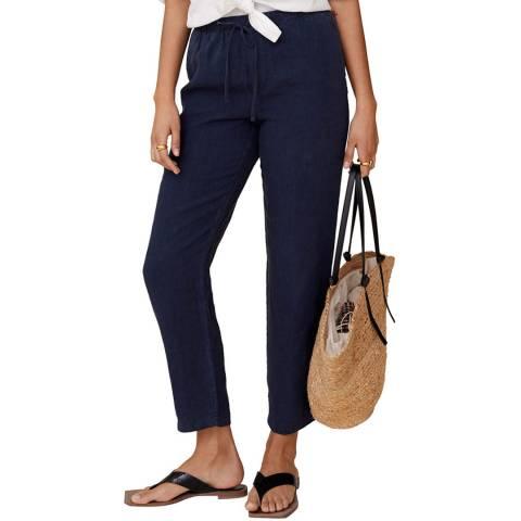 Mango Navy Linen Straight Leg Trouser