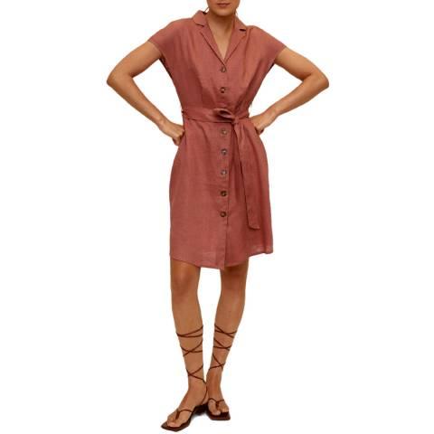 Mango Dusky Pink Tie Waist Linen Dress