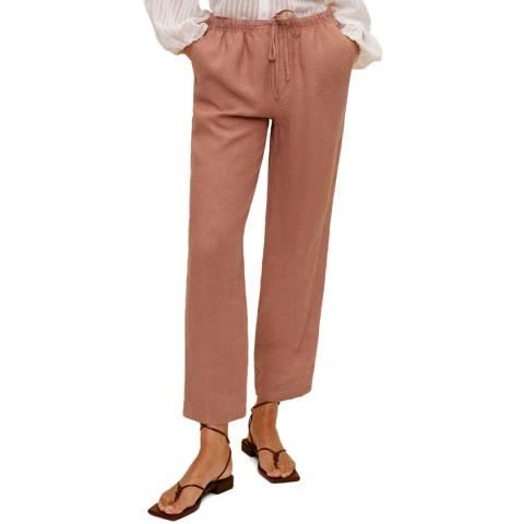 Mango Pink Linen Straight Leg Trouser
