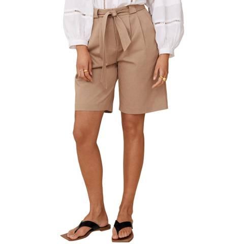 Mango Medium Brown Cotton Blend Shorts