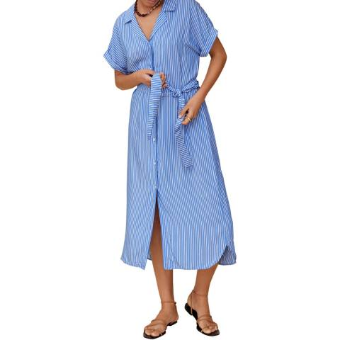 Mango Blue Button Through Tie Waist Dress