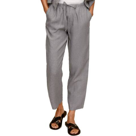 Mango Grey Linen Straight Leg Trouser