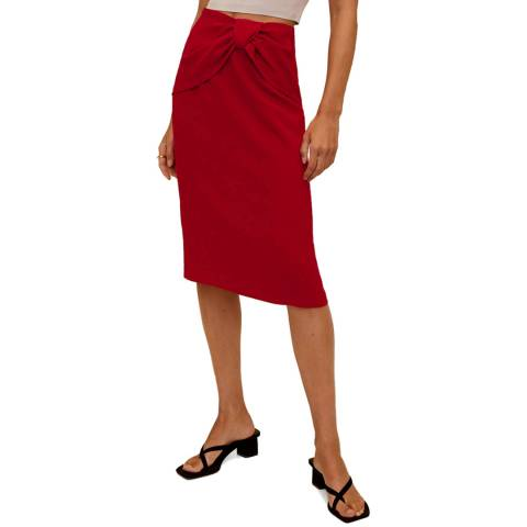 Mango Red Tie Front Pencil Skirt
