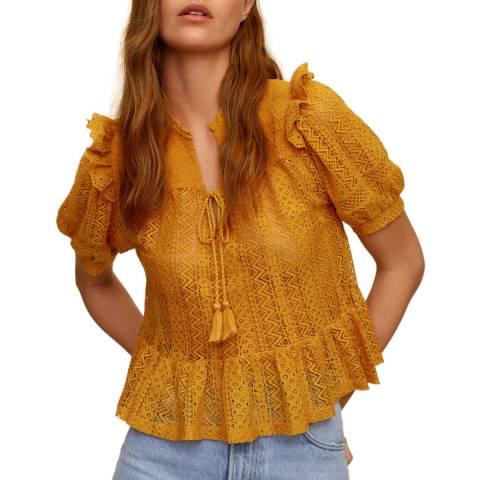 Mango Mustard Tie Neck Detailed Tshirt