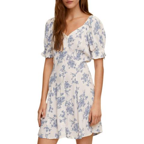 Mango Off White Floral Tie Back Dress