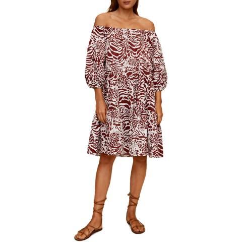 Mango Maroon Off Shoulder Cotton Dress