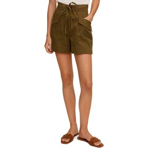 Mango Khaki Cotton Blend Shorts