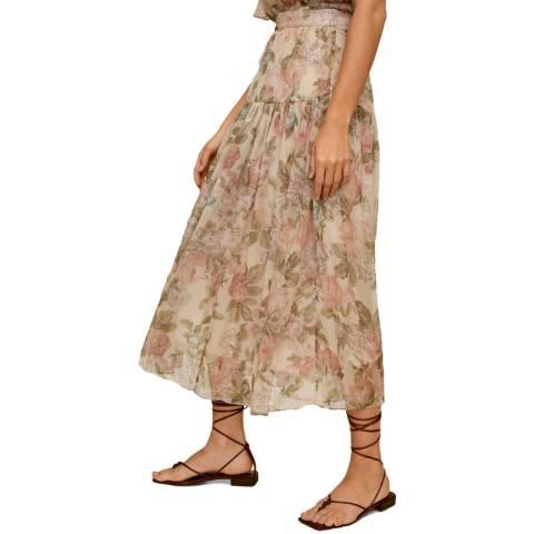 Mango Ecru Floral Midi Skirt