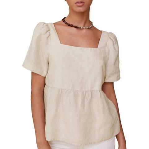 Mango Ecru Linen Short Sleeve Blouse