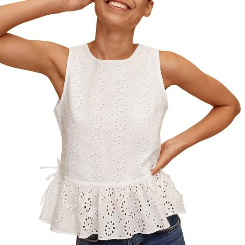 Mango Off White Peplum Cotton Top
