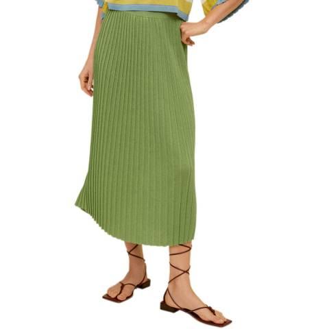 Mango Green Pleated Midi Skirt