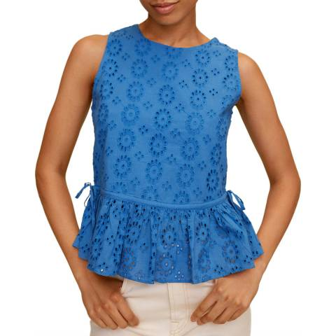 Mango Blue Peplum Cotton Top