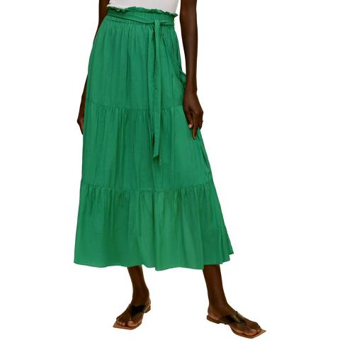 Mango Green Tie Wasit Flare Skirt