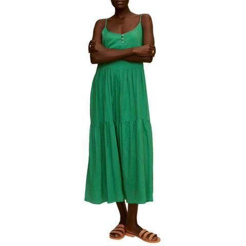 Mango Green Cotton Blend Maxi Dress