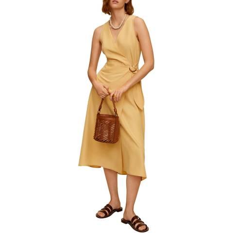 Mango Pastel Yellow Sleeveless Midi Dress