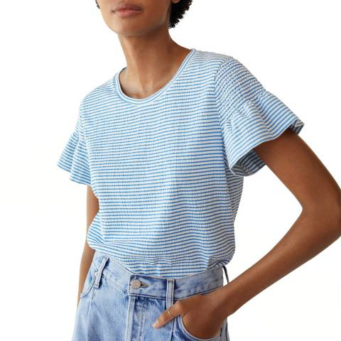Mango Blue Stripe Ruffle Sleeve Tshirt