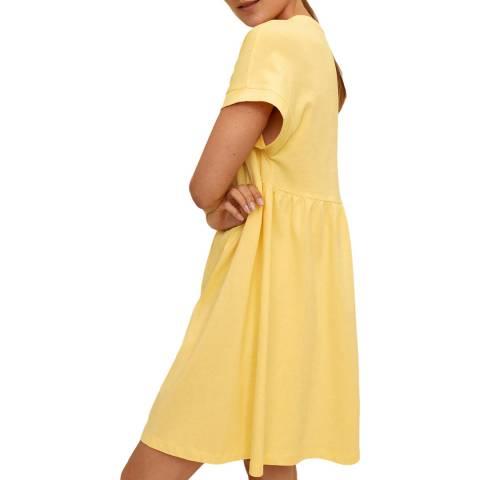 Mango Pastel Yellow Round Neck Cotton Dress
