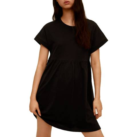 Mango Black Round Neck Cotton Dress