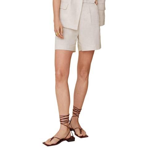 Mango Beige Belted Cotton Blend Shorts