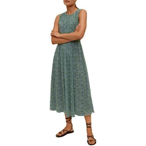 Mango Green Floral Pin Tuck Midi Dress